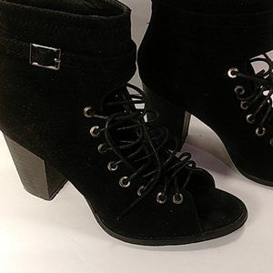Yoki black brie lace-up open toe boots